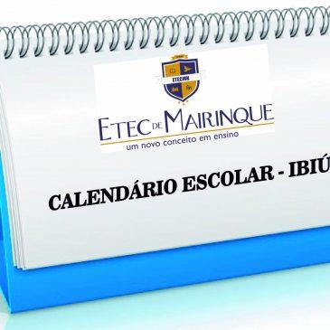 Calendário Escolar Etec de Mairinque – Ibiúna