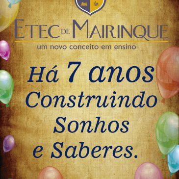07 de abril de 2017 – Aniversário da Etec de Mairinque