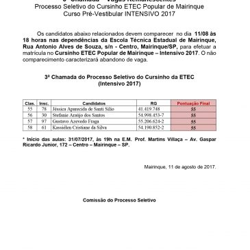 3ª Chamada – Vagas Remanescentes Processo Seletivo do Cursinho ETEC Popular de Mairinque Curso Pré-Vestibular INTENSIVO 2017