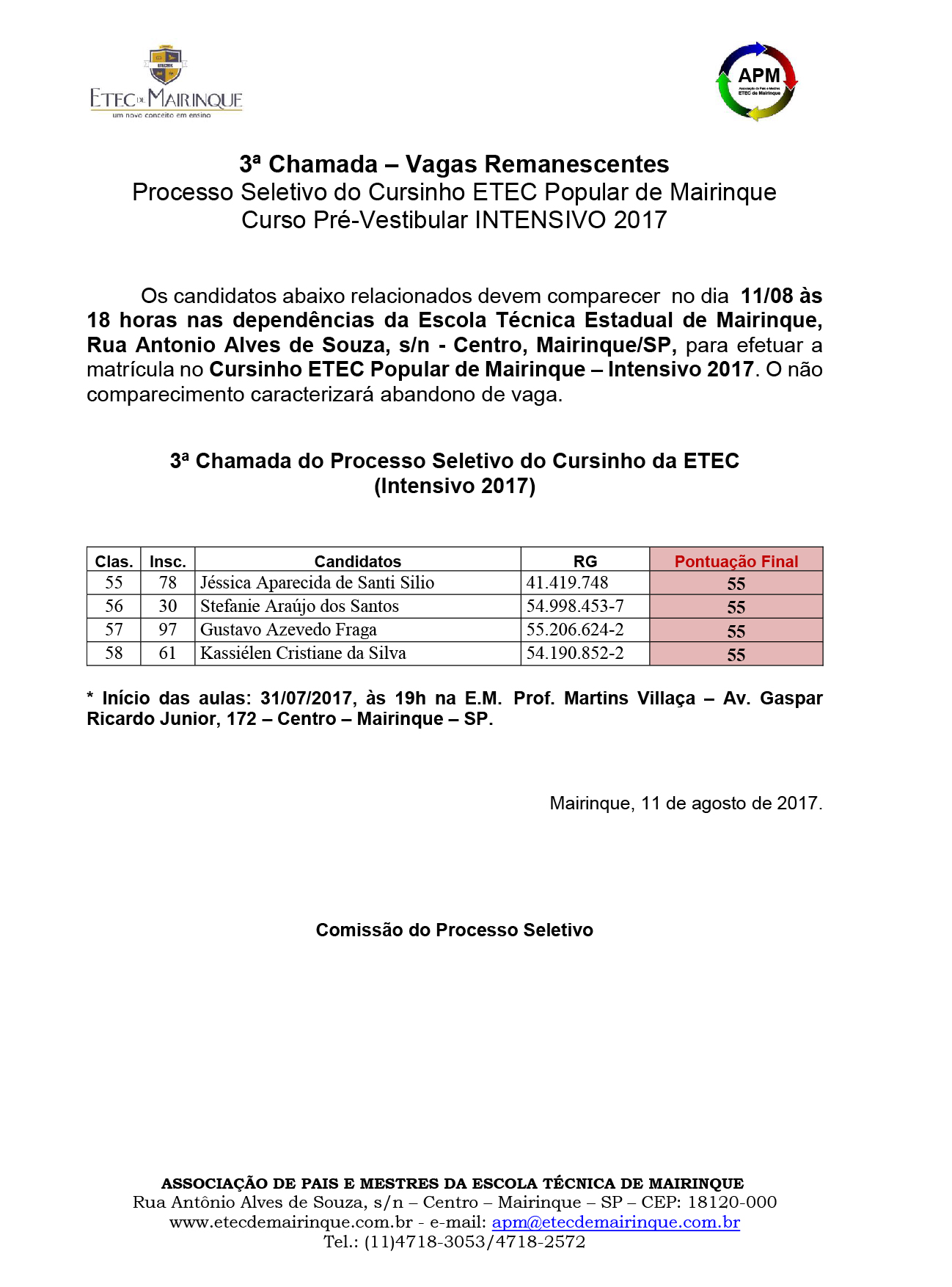 3ª Chamada - INTENSIVO 2017