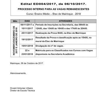 Vagas Remanescentes para 2º e 3º anos do Ensino Médio  – 06 a 10/11/2017