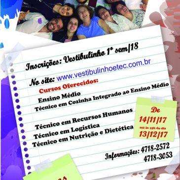 Vestibulinho 1º Semestre 2018 – Etec de Mairinque