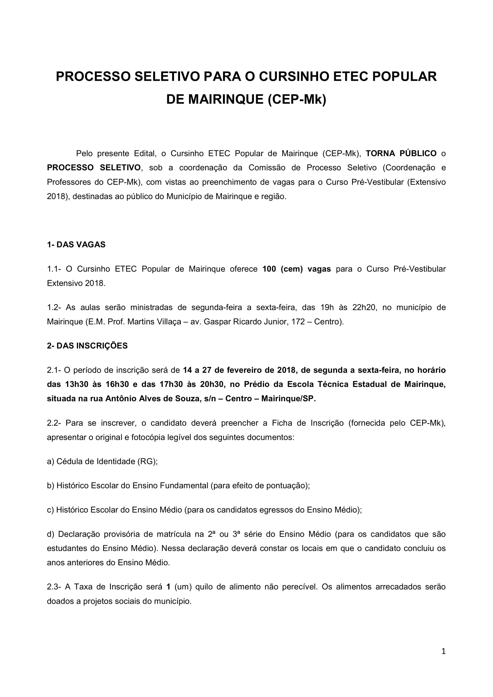 Edital Cursinho MK 2018-1