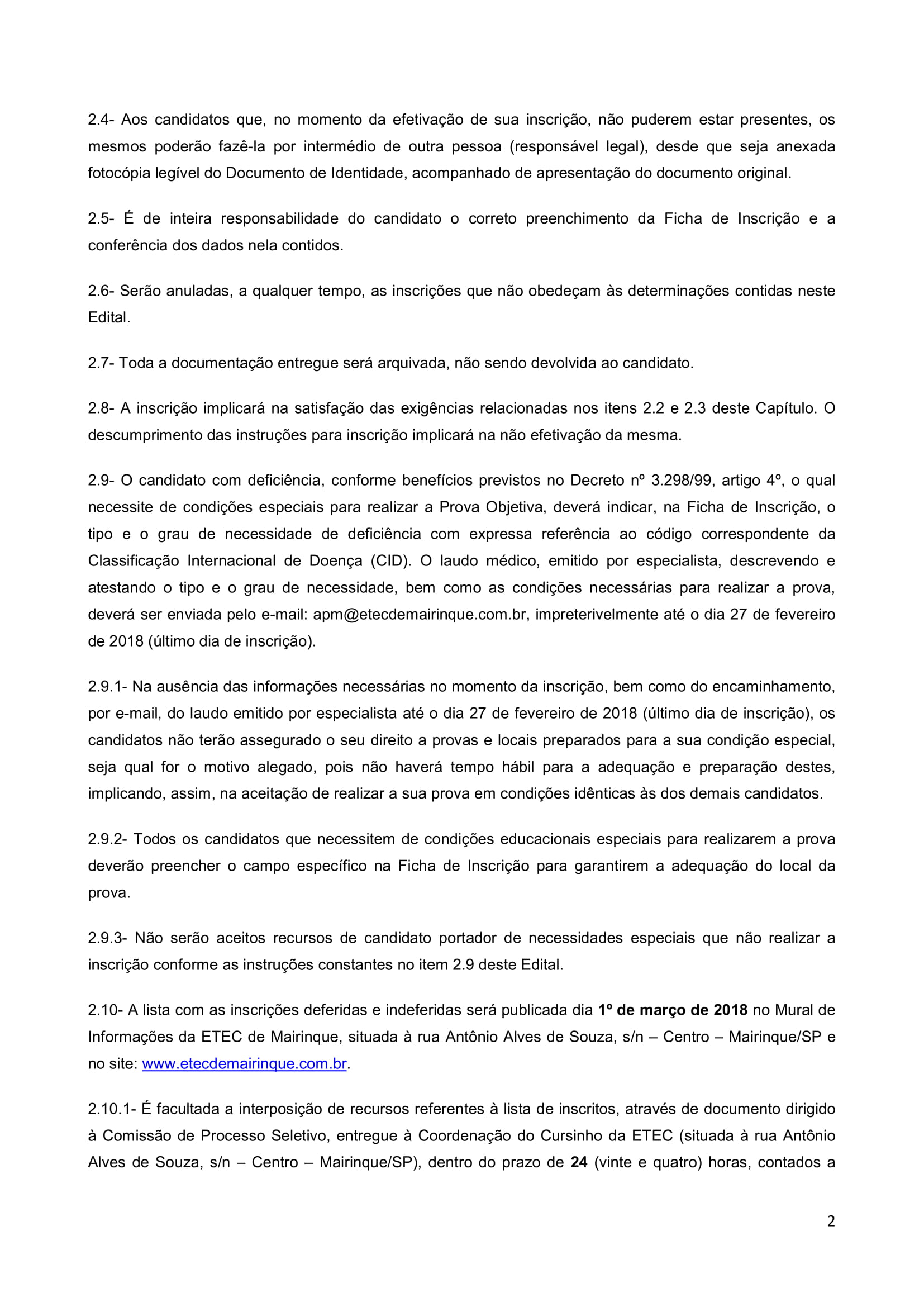 Edital Cursinho MK 2018-2
