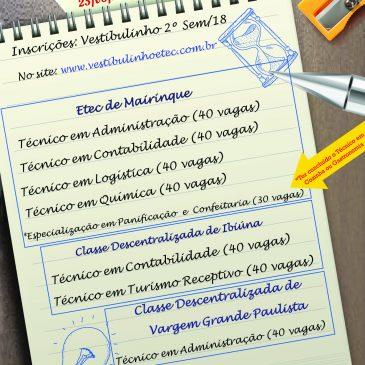 """Vestibulinho 2º Sem/18 """"Inscrições prorrogadas até as 15h do dia 28/05/2018"""""""