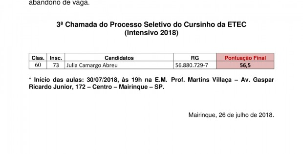 3ª Chamada - INTENSIVO 2018-1