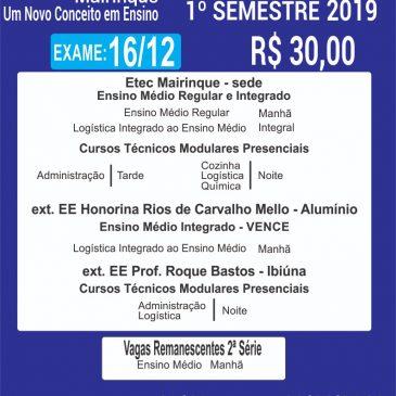 VESTIBULINHO 1º SEMESTRE 2019