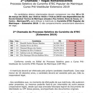2ª Chamada – Vagas Remanescentes Processo Seletivo do Cursinho ETEC Popular de Mairinque Curso Pré-Vestibular Extensivo 2019