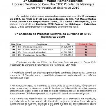 3ª Chamada – Vagas Remanescentes Processo Seletivo do Cursinho ETEC Popular de Mairinque Curso Pré-Vestibular Extensivo 2019