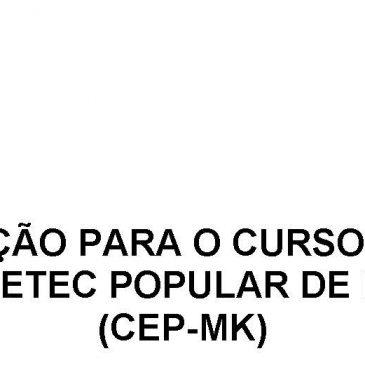 LOCAL DA PROVA DE SELEÇÃO PARA O CURSO EXTENSIVO 2019  CURSINHO ETEC POPULAR DE MAIRINQUE  (CEP-MK)