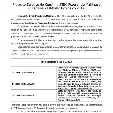 RESULTADO FINAL – Processo Seletivo do Cursinho ETEC Popular de Mairinque Curso Pré-Vestibular Extensivo 2019