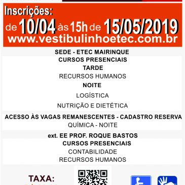 VESTIBULINHO 2º SEMESTRE 2019