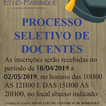EDITAL DE ABERTURA DE INSCRIÇÕES AO PROCESSO SELETIVO SIMPLIFICADO PARA FORMAÇÃO DE CADASTRO RESERVA, PARA PROFESSOR DE ENSINO MÉDIO E TÉCNICO, Nº 235/01/2019.
